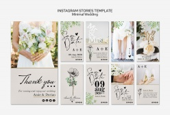 INS風格婚禮邀請卡片手機模板