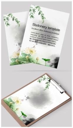 中國風水墨背景信紙設計