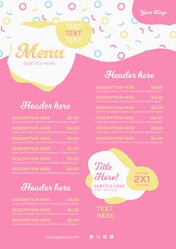 粉色風格價目表PSD模板