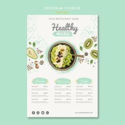A4健康餐飲菜單模板設計