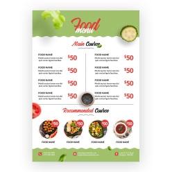 A4紙桌貼餐飲菜單模板設計
