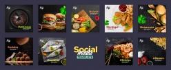 餐飲美食正方形畫冊模板PSD