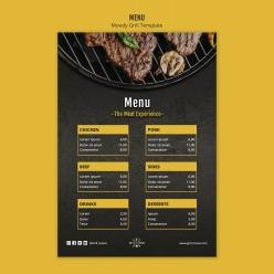 西餐牛排價目表模板PSD