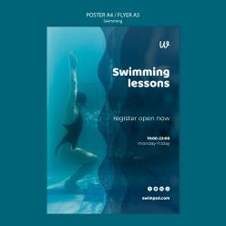 游泳課英文宣傳海報設計