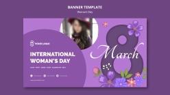 紫色風格婦女節banner設計