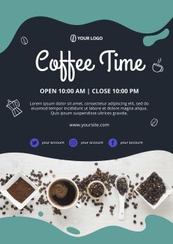 咖啡時光英文海報模板