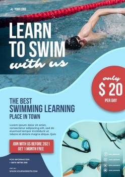 游泳招生英文海報設計