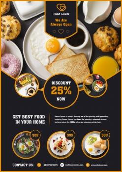 早餐餐厅宣传单模板PSD