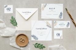 婚禮文藝簡約卡片PSD模板