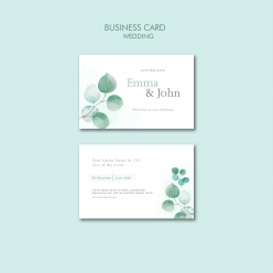 小清新樹葉裝飾婚禮卡片