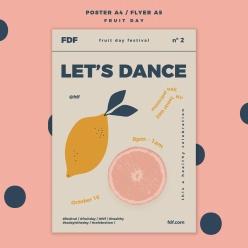 創意水果宣傳單PSD模板