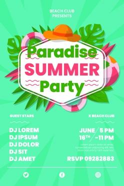 夏日派對英文海報設計PSD