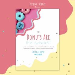 甜甜圈小清新宣傳單模板