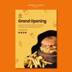 漢堡餐廳宣傳單模板PSD