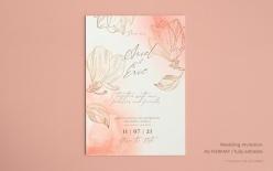 金色線描花卉婚禮請柬模板