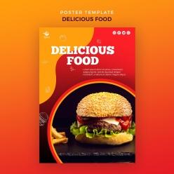 漢堡美食海報模板源文件