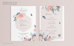 彩繪玫瑰花裝飾婚禮邀請卡