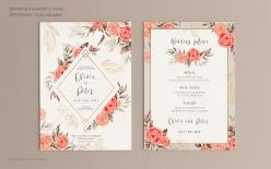 玫瑰花裝飾婚禮邀請卡模板