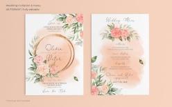 花卉婚禮請柬菜單模板