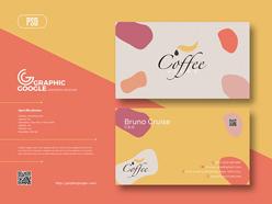 咖啡館彩色名片模板設計