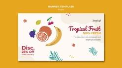 熱帶水果橫幅模板
