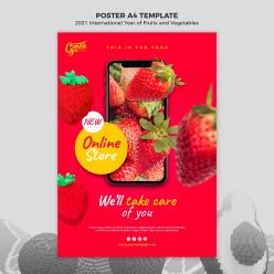 香甜草莓宣傳海報模板