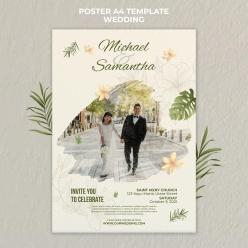 優雅的婚禮海報模板