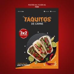 墨西哥美食宣傳單海報模板