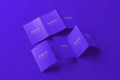 紫色折頁宣傳單樣機