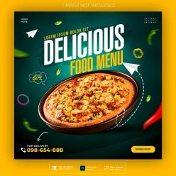 美味披薩方形海報設計