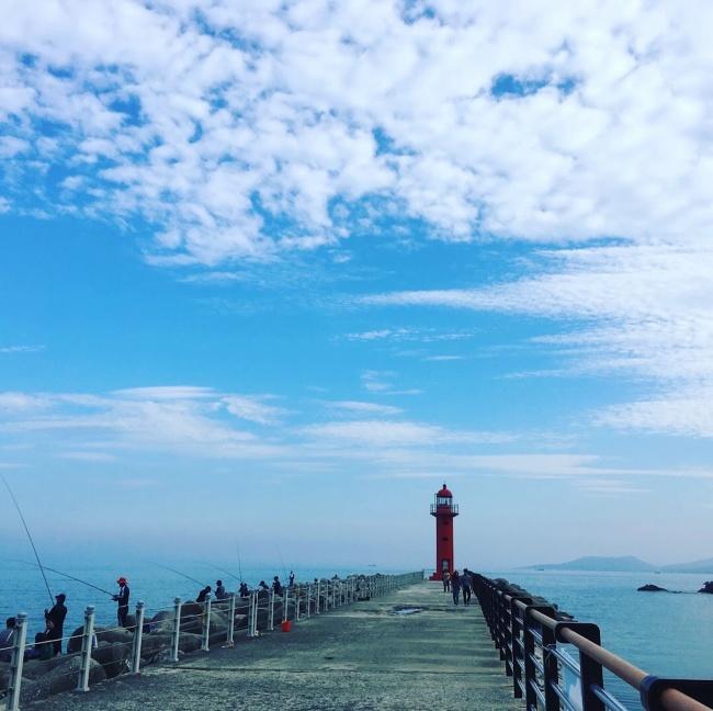 海堤風景唯美意境圖片