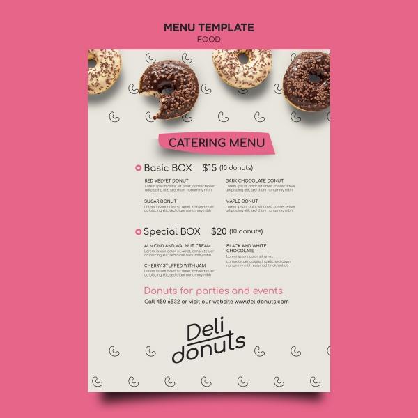 甜品店菜單模板設計PSD